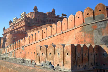 The external facade of Junagarh Fort in Bikaner, Rajasthan, India, with details of the ramparts