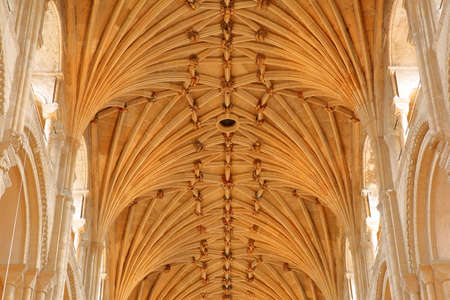 NORWICH, UK - MARCH 31, 2018: Close-up on the vaulted roof of The Cathedral