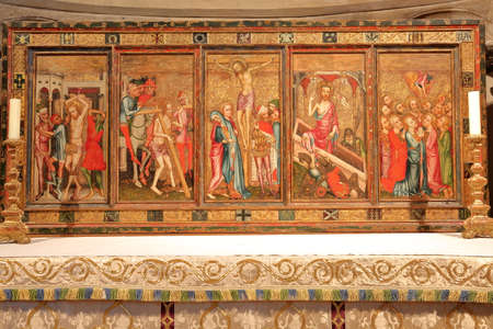 NORWICH, UK - MARCH 31, 2018: The Despenser Reredos in St Lukes Chapel inside the Cathedral