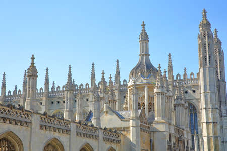 CAMBRIDGE, UK - MAY 6, 2018: Close-up on the spires of Gothic Kings college Chapel, Cambridge university