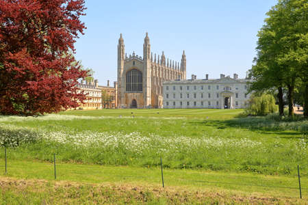 CAMBRIDGE, UK - MAY 6, 2018: View of Kings college Chapel from the other side of the river Cam with Spring colors in the foreground