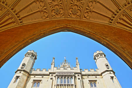 CAMBRIDGE, UK - MAY 6, 2018: St Johns College University, close-up on New Court with details of the carvings