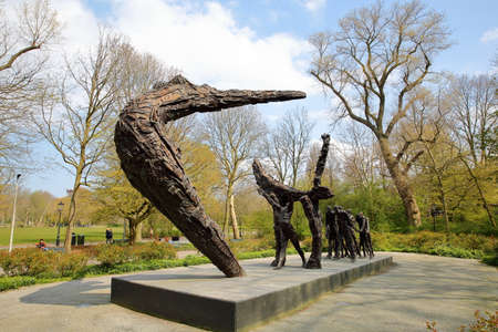 AMSTERDAM, NETHERLANDS - APRIL 14, 2019: National Monument (unveiled in 2002) and dedicated to Slavery by Erwin de Vries (1929 – 2018) in Oosterpark