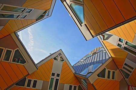 ROTTERDAM, NETHERLANDS - JUNE 1, 2019: Cube houses (Kijk Kubus), architectural unusual angular cube shape apartment block, located near Oudehaven Harbor