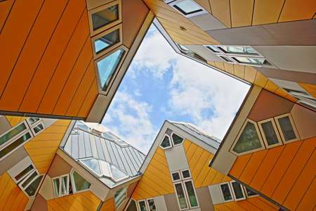ROTTERDAM, NETHERLANDS - MAY 31, 2019: Cube houses (Kijk Kubus), architectural unusual angular cube shape apartment block, located near Oudehaven Harbor