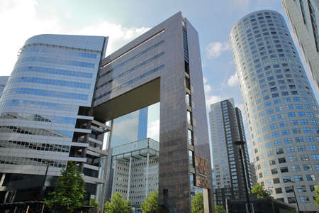 ROTTERDAM, NETHERLANDS - MAY 31, 2019: Modern office buildings located on Weena street near Central Station, with Unilever building