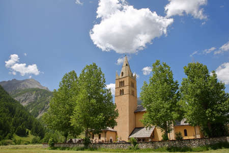 Saint Laurent church in Arvieux village, Queyras Regional Natural Park, Southern Alps, France