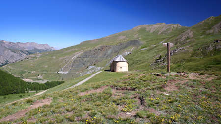 Clausis Chapel (close to Saint Veran), overlooking the valley Aigle Blanche, Queyras Regional Natural Park, Southern Alps, France