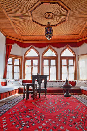 MOSTAR, BOSNIA AND HERZEGOVINA - SEPTEMBER 21, 2019: The interior of Muslibegovic House (Kajtaz), a well preserved wooden Ottoman house converted in a Museum