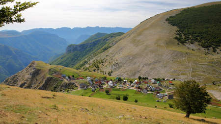 General view of Lukomir village, surrounded by Bjelasnica mountains and overlooking Rakitnica canyon. Lukomir is Bosnia's highest village at 1469 meters and the most remote in the entire country, Bosnia and Herzegovina