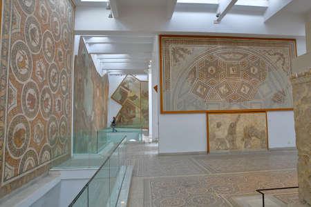 TUNIS, TUNISIA - DECEMBER 08, 2019: Impressive roman mosaics located inside the Bardo Museum Editorial