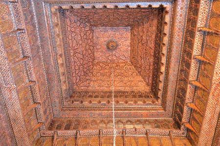 KAIROUAN, TUNISIA - DECEMBER 10, 2019: The Sidi Abid El Ghariani Zaouia, with an ornate ceiling Editorial