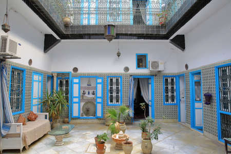 KAIROUAN, TUNISIA - DECEMBER 11, 2019: The traditional inner courtyard of Dar Hassine Allani House Editorial