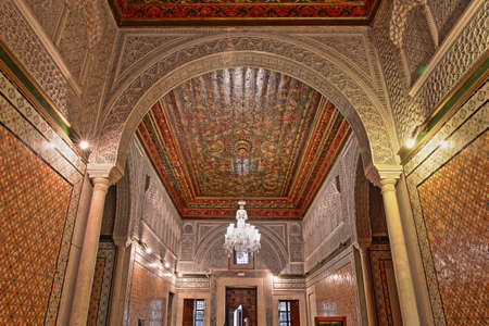 TUNIS, TUNISIA - DECEMBER 31 2019: The impressive interior of Dar Lasram Palace, a well preserved mansion dated from 18th century Editorial