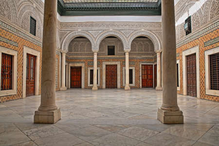 TUNIS, TUNISIA - DECEMBER 31 2019: The impressive inner courtyard of Dar Lasram Palace, a well preserved mansion dated from 18th century Editorial
