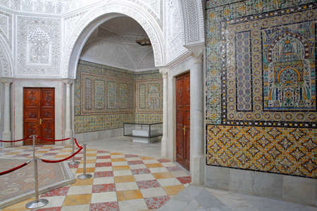 TUNIS, TUNISIA - JANUARY 02, 2020: The treasure room inside the Bardo Museum with ceramic tiles, columns, and arcades