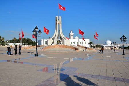 TUNIS, TUNISIA - JANUARY 02, 2020: Kasbah square with a memorial monument, located at the southern entrance to the medina