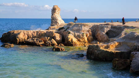 MAHDIA, TUNISIA - DECEMBER 27, 2019: The rocky seashore at the top end of the peninsula in Mahdia