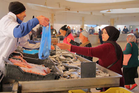 SFAX, TUNISIA - DECEMBER 25, 2019: The fish market inside the medina of Sfax