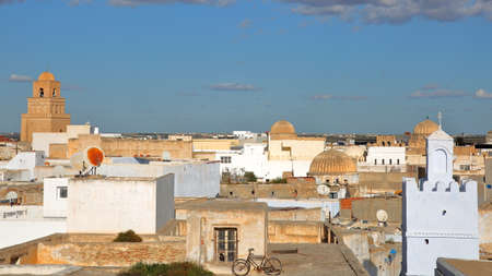 General view of the roofs of Kairouan, Tunisia, with the minaret of the Great Mosque on the left