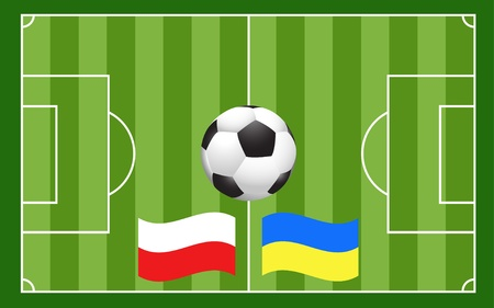 vector of football ball with field and Poland Ukraine flags Vector