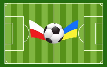 Football ball with field and Poland Ukraine flags Vector