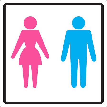 human gender: Man Woman restroom sign  Illustration