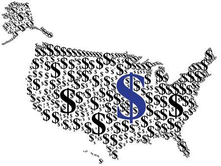 imperialism: dollar symbol on america map Illustration