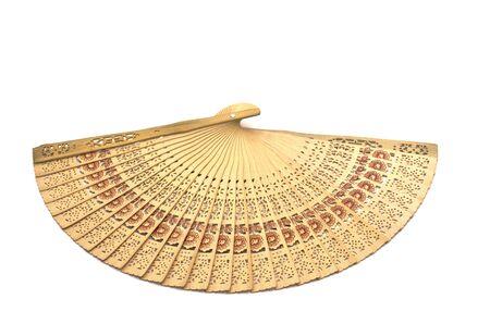 Folding fan isolated on white background photo