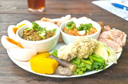 set of northern thai food for tourists photo