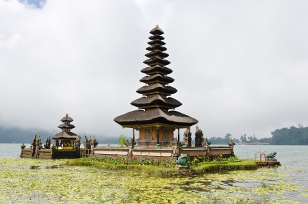 Befog Pura Ulun Danu Temple on Bratan lake, Bali Indonesia