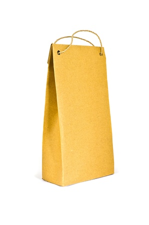 brown paper bag: brown paper bag on white background