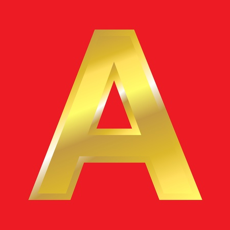 Shiny golden letter A isoleted on red background, easy to separate. photo