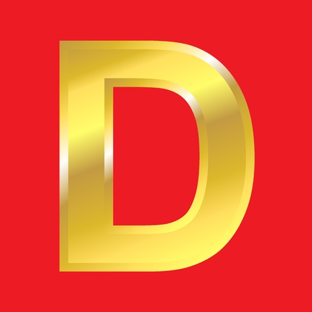 Shiny golden letter D isoleted on red background, easy to separate. photo
