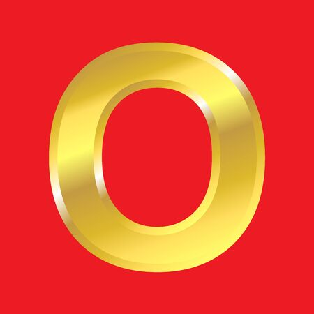 Shiny golden letter O isoleted on red background, easy to separate. photo