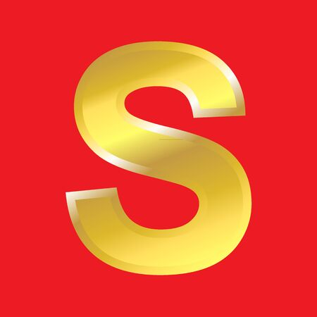 Shiny golden letter S isoleted on red background, easy to separate. photo