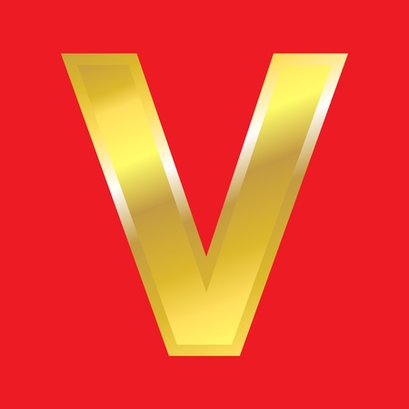 massive: Shiny golden letter V isoleted on red background, easy to separate. Stock Photo