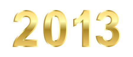 Golden 2013 Happy New Year greeting card on white background. Banco de Imagens