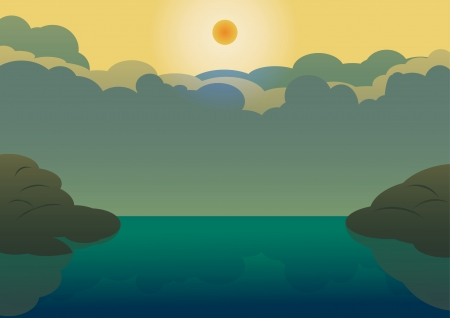 Horizon over water, Landscape with rock hill and blue lake on cloud background    Vector in EPS 10  Vector