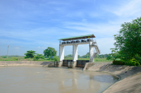 Water gate, irrigation for agriculture in Thailand.