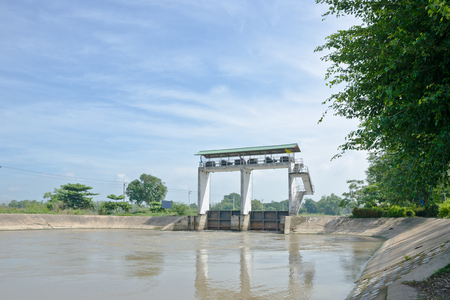 sluice: Water gate, irrigation for agriculture in Thailand.