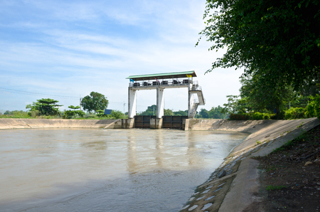 sluice: water gate, irrigation for agriculture in Thailand. Stock Photo