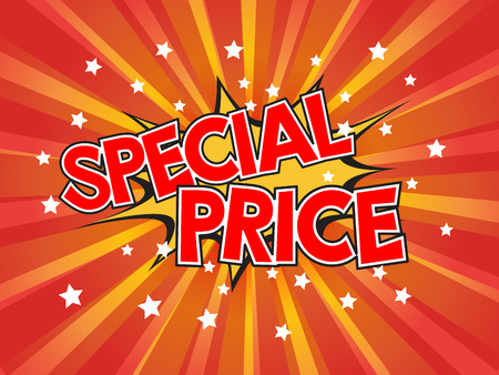 Special price, wording in comic speech bubble on burst background Vector