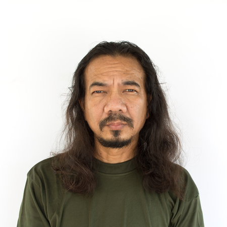 Old asian man with long hair on white background Banco de Imagens