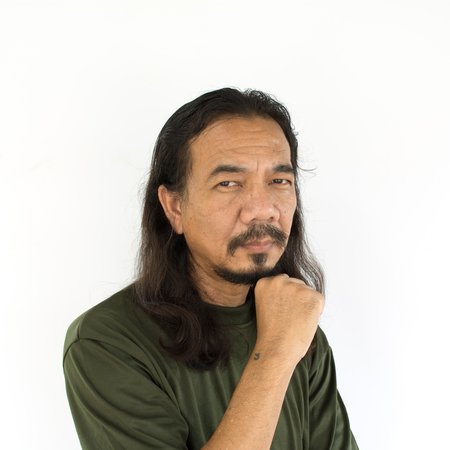 asian man face: Old asian man with long hair on white background Stock Photo