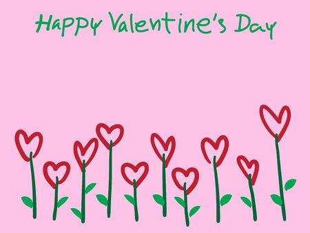 Valentine's Day Heart Flowers on pink Background, EPS10 Vector Illustration