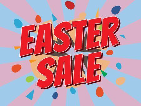 Easter sale, wording in comic speech bubble on burst background, EPS10 Vector Illustration