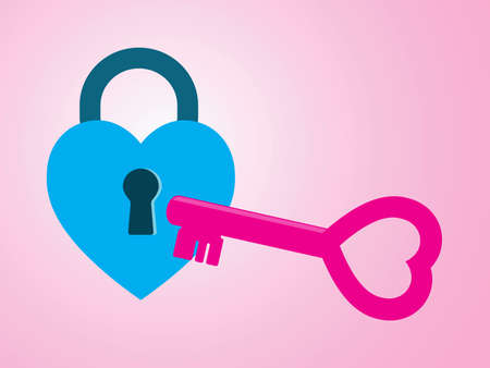 romantic sex: Heart padlock and symbol key, concept for male, female with love, open mind and wedding. Eps 10 vector illustration. Illustration