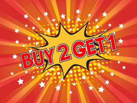Buy 2, Get 1 Free, wording in comic speech bubble on burst background, EPS10 Vector Illustration