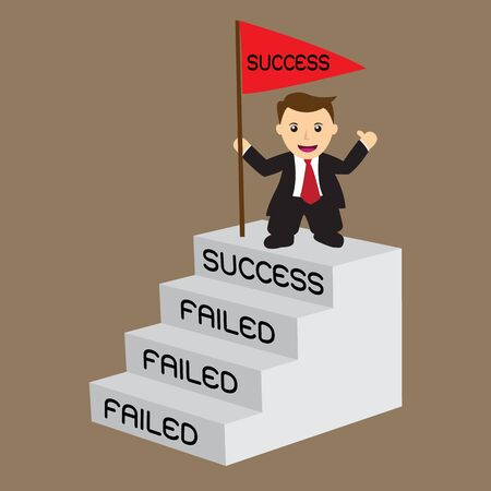 Business man with success flag on top stair, concept for challenge and develop his fail until success step by step ; EPS 10 vector illustration.